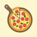 Margarita pizza and slice of piece on wooden tray pizza plate. Flat design vector vector illustration