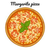 Margarita pizza with tomatoes. Object for packaging, advertisements, menu. Isolated on white. Vector illustration. Cartoon royalty free illustration