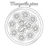 Margarita pizza with tomatoes. Object for packaging,. Advertisements, menu. Isolated on white. Vector illustration. Cartoon. Black and white royalty free illustration