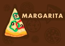 Margarita Pizza Web Banner Flat Cartoon Template. Triangle Pizza Slice with Chopped Pepper, Olives and Cheese. Italian Dish on Brown Background. Traditional vector illustration