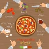 Margarita recipe pizza constructor on broun wood background. Margarita recipe pizza constructor on wood background vector illustration