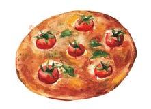 Margaritapizza Handgjord vattenfärgmålningillustration Arkivbilder