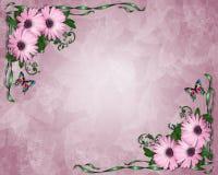 Margaritas de la púrpura de la invitación de la boda o del partido Imágenes de archivo libres de regalías