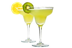 Margaritas with salt and lemon or kiwi Royalty Free Stock Image