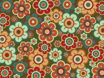 Margaritas verdes rojas del estallido retro Foto de archivo libre de regalías