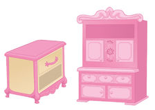 Margelle et placard Meubles élégants dans des couleurs roses riches sur le fond blanc Illustration de vecteur illustration de vecteur