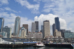 Margem e skyline, Seattle, Washington Fotografia de Stock