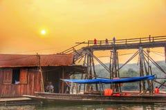 Margem velha de Sangkhlaburi da cidade Imagem de Stock Royalty Free