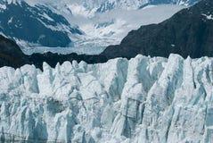 Margerie冰川接近的看法在冰河海湾国家公园的 库存照片