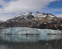 Margerie glacier and Mount Root with full reflection Royalty Free Stock Images