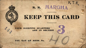 Antique Margha Steam Ship Ticket Royalty Free Stock Images