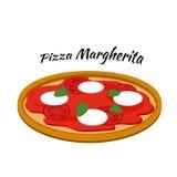 Margherita пиццы, иллюстрация в плоском стиле Стоковое Фото