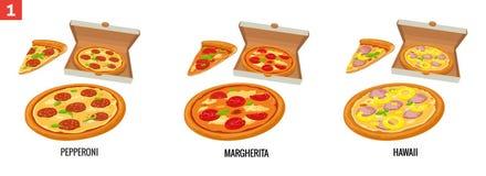 整个薄饼和薄饼在开放白色箱子的 意大利辣味香肠,夏威夷人, Margherita 传染媒介被隔绝的平的例证 库存例证