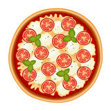 Margherita italian pizza with tomato isolated on white Royalty Free Stock Photography