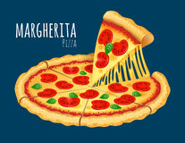Margherita Pizza. A  illustration of a cooked Margherita Pizza Stock Images