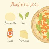 Margherita pizza ingredients. Vector EPS 10 hand drawn illustration Stock Photo