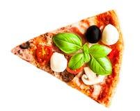 Margherita pizza isolated with fresh basil. Slice of fresh ital. Ian classic pizza stock photo