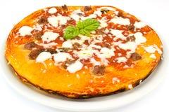 Margherita Pizza mit Wurst Stockbilder