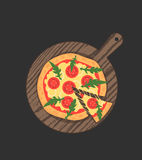 Margherita pizza on wooden board on black table. Slice with melting cheese. Vector illustration Stock Images