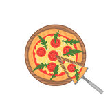 Margherita pizza on wooden board on white. Slice with melting cheese. Vector Stock Image