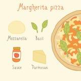 Margherita pizzaingredienser Arkivfoto