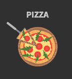 Margheritapizza op houten raad op zwarte lijst Plak met smeltende kaas Vector illustratie Royalty-vrije Stock Foto