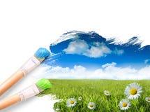 Margherite selvatiche nell'erba con un cielo blu fotografie stock