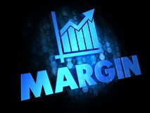 Margin Concept on Dark Digital Background. Margin with Growth Chart Icon - Blue Color Text on Dark Digital Background Stock Photo