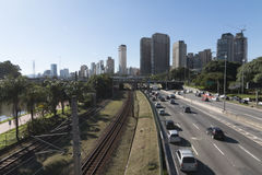 Marginal Pinheiros highway. Marginal Pinheiros officially SP-015 is a section of this highway that runs through the city of São Paulo, Brazil. The name of stock image
