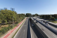 Marginal Pinheiros highway. Marginal Pinheiros officially SP-015 is a section of this highway that runs through the city of São Paulo, Brazil. The name of stock images