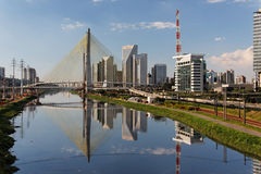 Marginal Pinheiros Sao Paulo Brazil. The cityscape of Brooklin neighbourhood in Sao Paulo, megacity of Brazil with the large Marginal Pinheiros avenue, modern royalty free stock images