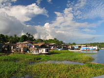 Marginal village. Small town to the edges of the river Amazon Royalty Free Stock Photos