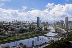Marginale Pinheiros, Sao Paulo, Brazilië stock afbeelding