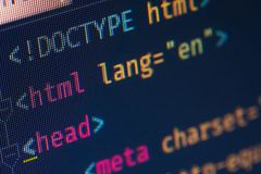 Margine di profitto dell'intestazione del HTML, macro immagini stock