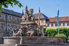 Margrave Fountain - New castle Bayreuth stock image