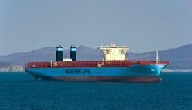 Margrethe Maersk för behållareskepp anseende på vägarna på ankaret Nakhodka fjärd Östligt (Japan) hav 24 04 2015 Arkivfoton