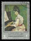 Marguerite Gachet på pianot vid Gauguin Arkivfoto