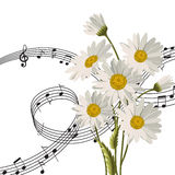 Marguerites avec des notes de musique illustration stock