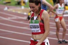 MARHARYTA在800米以后的KACHANAVA白俄罗斯在国际田联世界U20冠军的半决赛 库存图片