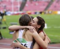 MARHARYTA KACHANAVA白俄罗斯和加夫列拉在800米以后的GAJANOVA斯洛伐克共和国半决赛在 图库摄影