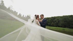 Mari? avec la jeune mari?e dans le voile nuptiale pr?s du lac en parc Couples de mariage clips vidéos
