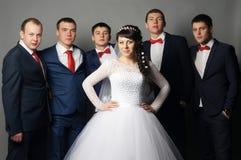 Marié avec ses amis ayant l'amusement Photos stock