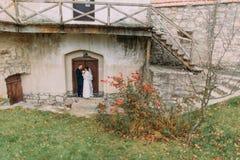 Marié beau embrassant le sien jeune mariée tendre près des bâtiments antiques en parc vert avec et arbres de cyprès Image stock