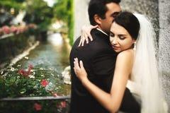 Marié beau et jeune mariée sexy de brune étreignant sur le vieil ove de pont Photographie stock libre de droits