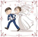 Marié courant Chased par la bande dessinée drôle de vecteur de jeune mariée Images libres de droits