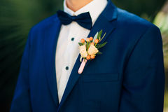 Marié de boutonniere de fleur de mariage Photos stock