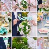 Marié de jeune mariée de collage de mariage, attributs du bouquet et anneaux Photographie stock libre de droits