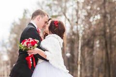 marié de mariée wedding à l'extérieur l'hiver Jeunes mariés extérieurs image stock