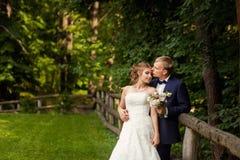 Marié embrassant la jeune mariée près de la haie en bois Image libre de droits