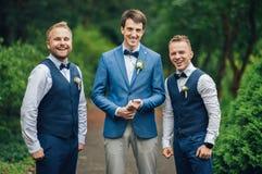 Marié et garçons d'honneur heureux photographie stock libre de droits